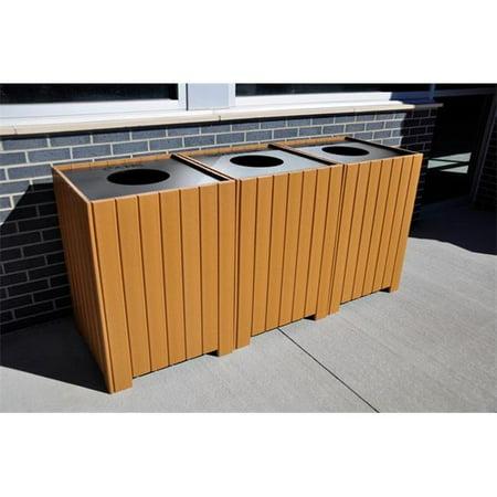 Jayhawk PB 64SGRAREC Square Recycling Center, Gray, 64 Gal Fiberglass Recycling Center