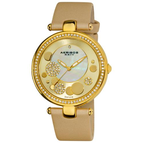 Akribos XXIV  Women's Goldtone Diamond Dial Quartz Strap Watch