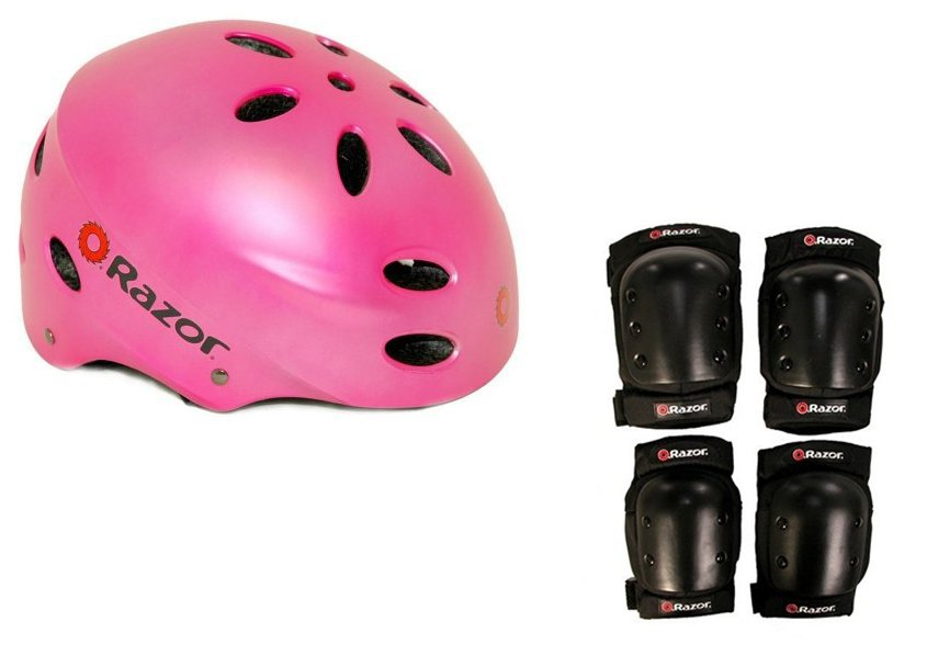 Razor V17 Child Skateboard Scooter Pink Sport Helmet w  Pro Elbow & Knee Pads by Razor