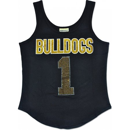 Bowie State Bulldogs S2 Rhinestone Ladies Tank Top [Black - S] Bulldogs Ladies Black Rhinestone