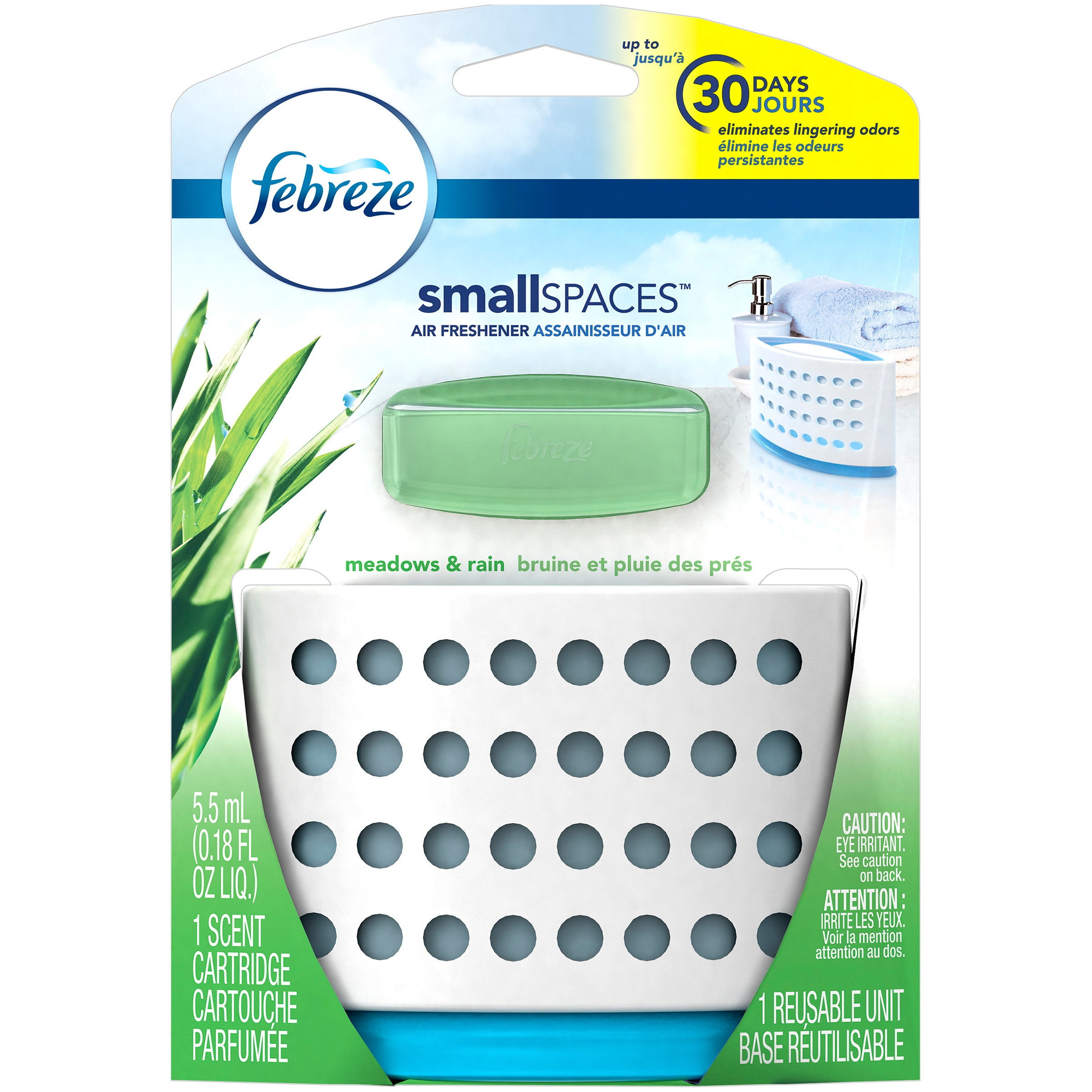 Febreze SmallSpaces Meadows & Rain Starter Kit Air Freshener (1 Count, 5.5 mL)