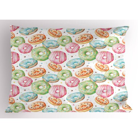 Watercolor Pillow Sham Sweet Delicious Donuts Pattern with Various Flavors Sprinkles Stars Background, Decorative Standard Size Printed Pillowcase, 26 X 20 Inches, Multicolor, by Ambesonne