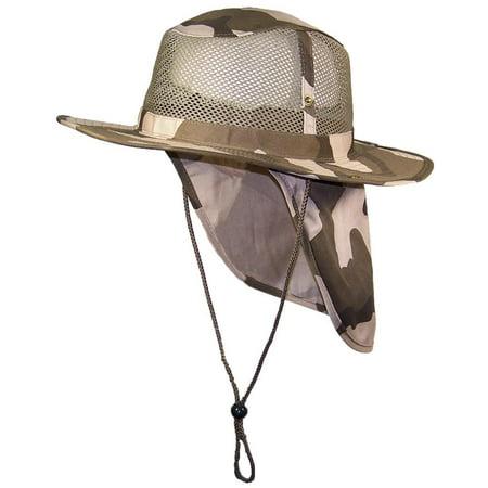 Tropic Hats Summer Wide Brim Mesh Safari Outback W Neck Flap   Snap Up Sides  - Desert Camo XXL - Walmart.com 0ea5bb12663a
