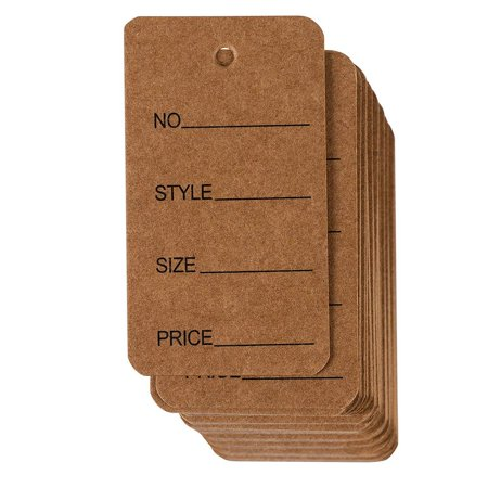 Price Tags - 1000-Pack Cloth Tags, Garment Tags, Writable Tags, Hang Labels, Size Name Style Tag, Kraft Paper Tag, for Business, Retail, Shop, Natural Brown, 1.5 x 2.7 Inches Package Includes1000pcs Kraft Cloth Tags Garment Writable Hang Labels Size Name Style Price Tag x 1Item Description1000pcs Kraft Cloth Tags Garment Writable Hang Labels Size Name Style Price TagPrice Tags - 1000-Pack Cloth Tags, Garment Tags, Writable Tags, Hang Labels, Size Name Style Tag, Kraft Paper Tag, for Business, Retail, Shop, Natural Brown, 1.5 x 2.7 InchesRETAIL CLOTHING LABELS: Ideal for clothing stores, these universal paper label are blank, ready for printing or writing. Buy in bulk and save on your store's clothing labels.FILL IT IN: The tags each have space for the number, style, sizeandprice. Just fill it in to let your customer know more about your products!TIE IT TOGETHER: Pre-punched hole lets you attach the garment tags to presents with your own string.STURDY AND THICK: The price tags are made of 300 gsm kraft paper that will stand up to use.DIMENSIONS: Each of the tags measures 1.5 x 2.7 inches.This 1000 pack of price tags is absolutely adorable. They have a rustic look and are made out of brown kraft paper. There is a blank space for the number, style, sizeandprice and all you have to do is fill it in with your product's information. Put the tags on jewelry, clothing and more. Use it at your home tag sale or in your professional shop. The thick paper holds up to use and each tag measures 1.5 x 2.7 inches. They are the perfect size for visibility.Product names are trademark of listed manufacturer or other owners, and are not trademarks of eForCity Corp. The manufacturer does not necessarily endorse use of these products.
