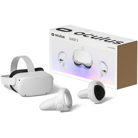 Oculus Quest 2 - Advanced All-In-One Virtual Reality Gaming Headset - White - Family Christmas Holiday Gaming Entertainment Bundle - 64GB Video