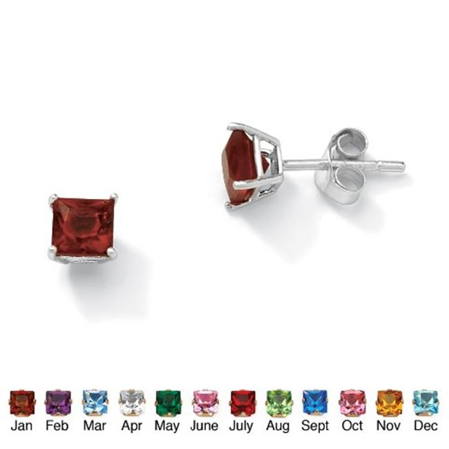 PalmBeach Jewelry 5062901 Sterling Silver Princess-Cut Birthstone Stud Pierced Earrings January - Simulated Garnet