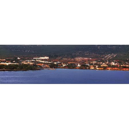 View of waterfront city Kona Hawaii Islands Hawaii USA Poster Print - Halloween City Hawaiian Gardens