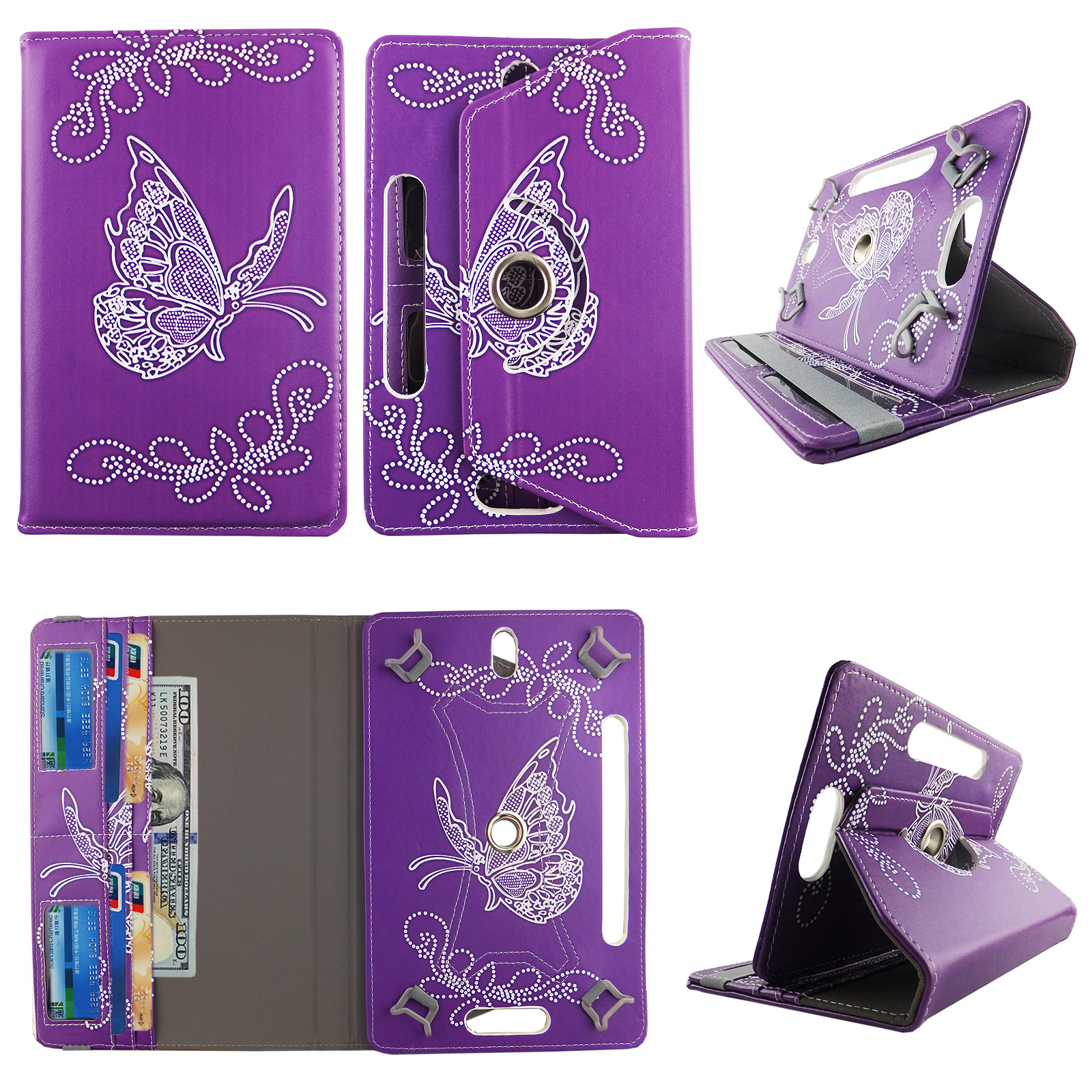 "Butterfly Purple tablet case 8 inch  for Samsung Galaxy Note 8"" 8inch android tablet cases 360 rotating slim folio stand protector pu leather cover travel e-reader cash slots"