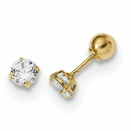 14K Yellow Gold Madi K Children's 4 MM Reversible Ball and CZ Screw Back Stud Earrings