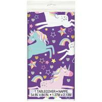 Plastic Rainbow Unicorn Party Tablecloth, 84 x 54in