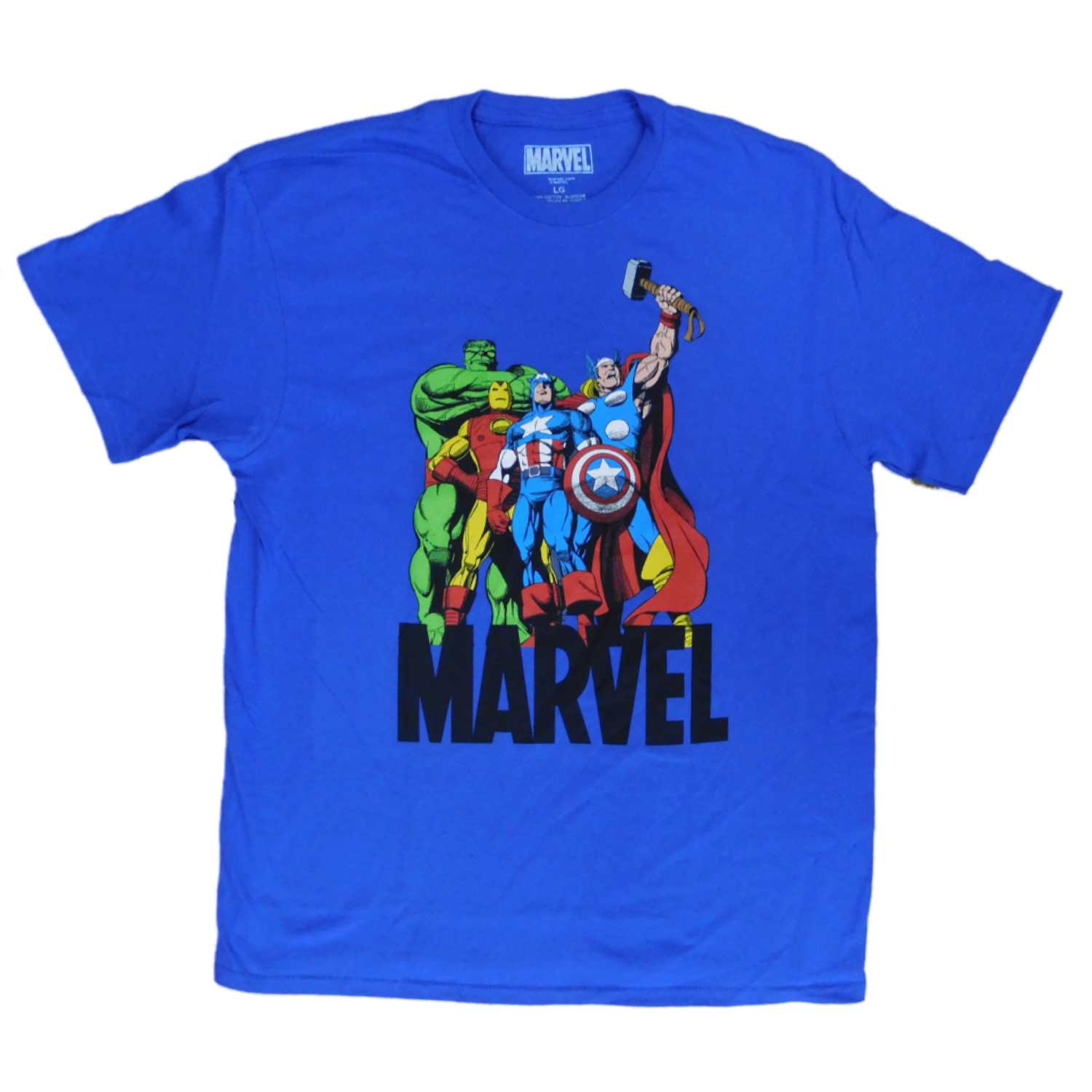 Marvel Mens Blue Classic Avengers Iron Man Captain America Hulk Thor T-Shirt