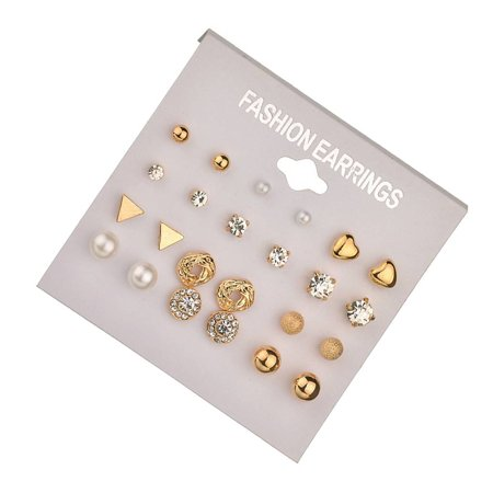outdoorline 12 Pairs Rhinestone Geometric Shaped Women Girl Earrings Ear Studs Alloy Earrings Jewerly - image 3 de 9
