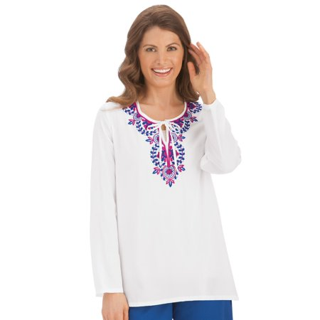 Embroidered Neckline (Women's Abstract Embroidered Tie Neckline Tunic Top, Xx-Large, White )