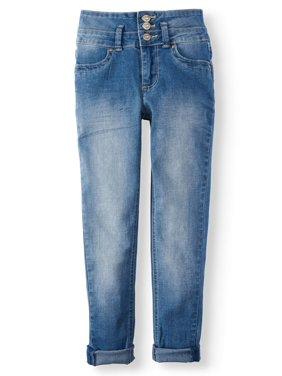 YMI High Rise 3-Button Roll Cuff Jean (Big Girls)