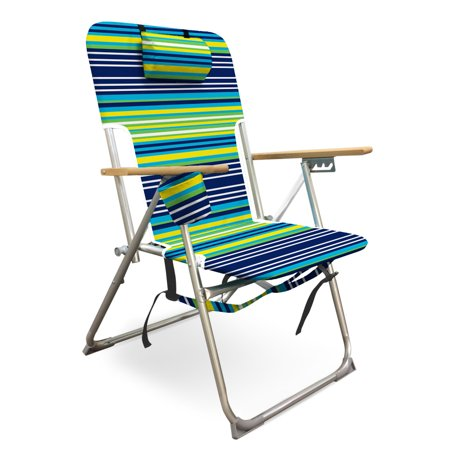 Caribbean Joe High Weight Capacity Back Pack Chair With Wood Armrests Double Shoulder Straps And