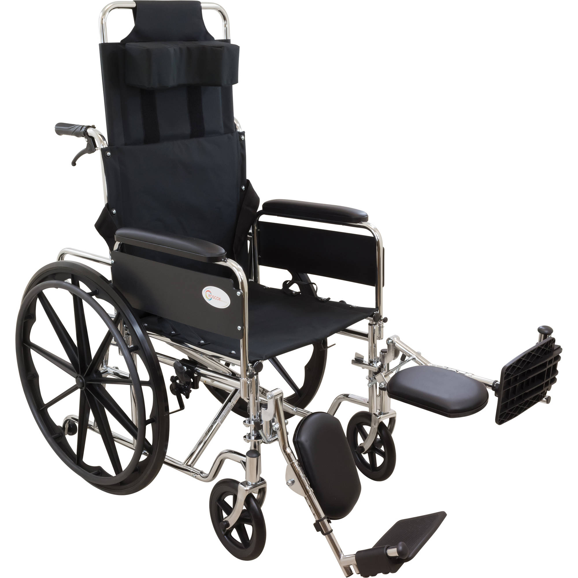"Roscoe R-Series Reclining Wheelchair, 18"" Seat with Elevating Legrests"