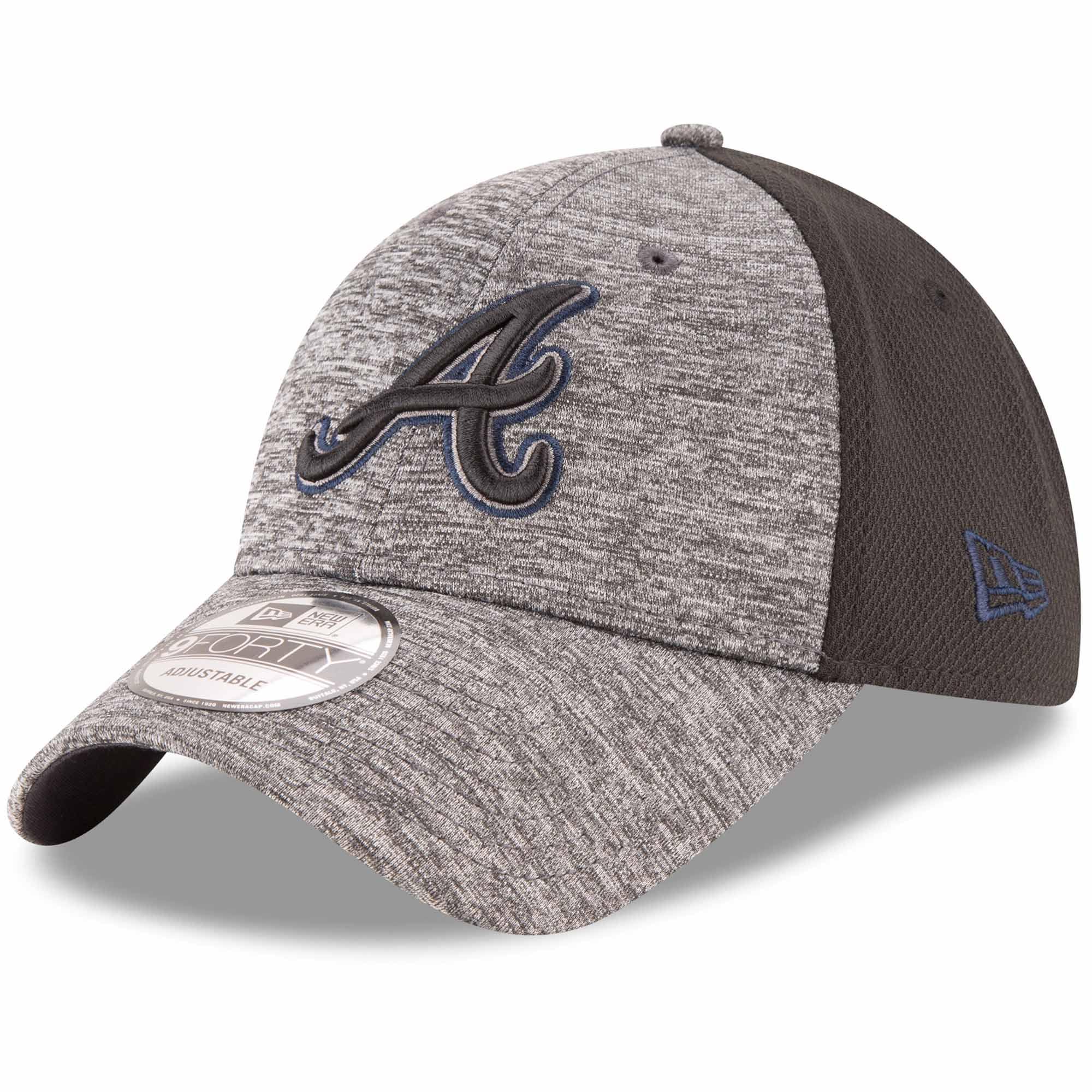 Atlanta Braves New Era Shadowed Team Logo 9FORTY Adjustable Hat - Heathered Gray/Black - OSFA