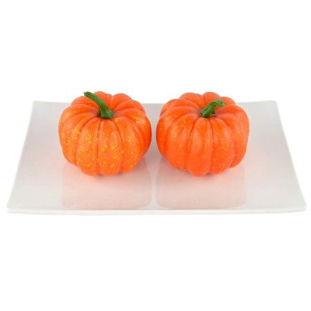 Fake Fruit Home House Kitchen Decoration Artificial Lifelike Simulation Mini Pumpkins Halloween House Decoration-Set of 10 - Orange