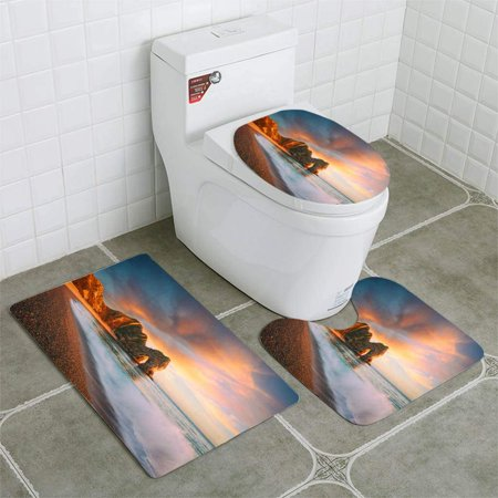PUDMAD Durdle Door Composite 3 Piece Bathroom Rugs Set Bath Rug Contour Mat and Toilet Lid