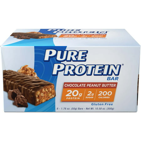Body Shake Chocolate Peanut Butter - Pure Protein Bar, Chocolate Peanut Butter, 20g Protein, 6 Ct