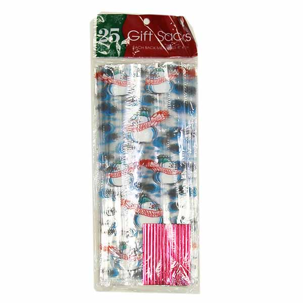 """Cello Plastic """"Snowman"""" Holiday Treat/Gift Bags- Includes Twist Ties (25 Count)"""