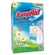 Damp Rid Hanging Moisture Absorber in Fresh Scent (Set of 3 Pack of 1), Eliminates unpleasant odors and traps excess moisture By DampRid