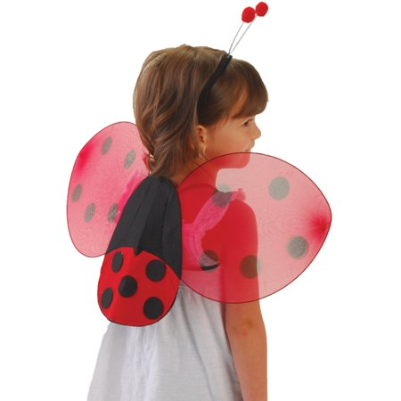Childs Lady Bug Wings And Antenna Head Band Set Costume Accessory - Alien Antenna Headband