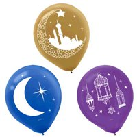 Ramadan 'Eid Mubarak' Latex Balloons (15ct)