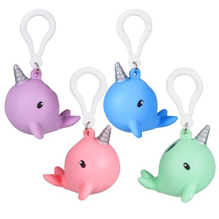 Squeezy Poo Narwhal Backpack Clips 2.25