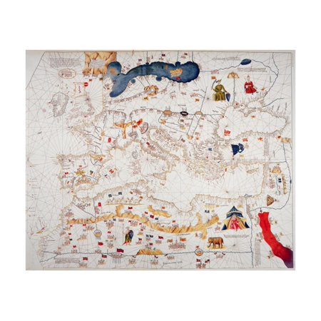 Copy of Catalan Map of Europe, North Africa and the Middle East Print Wall Art By Abraham (Map Of Europe Middle East And North Africa)
