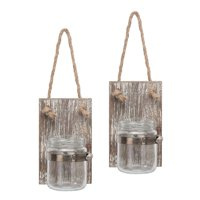 Rustic Mason Jar Wall Sconce Set with Hanging Rope, Set of 2