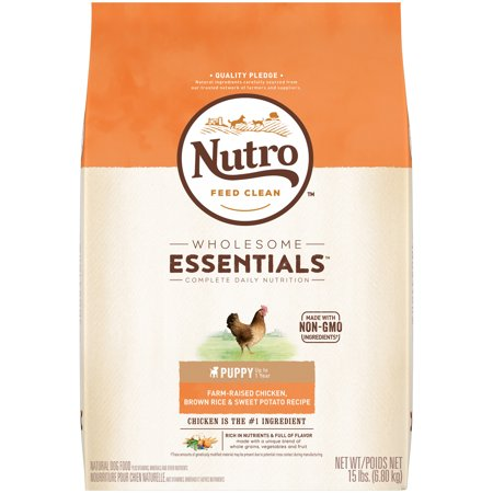 NUTRO WHOLESOME ESSENTIALS Puppy Dry Dog Food Farm-Raised Chicken, Brown Rice & Sweet Potato Recipe, 15 lb. Bag ()