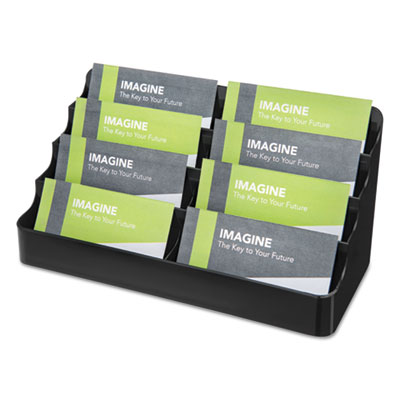 Recycled Business Card Holder, Holds 400 2 x 3 1/2 Cards, Eight-Pocket, Black, Sold as 1 Each