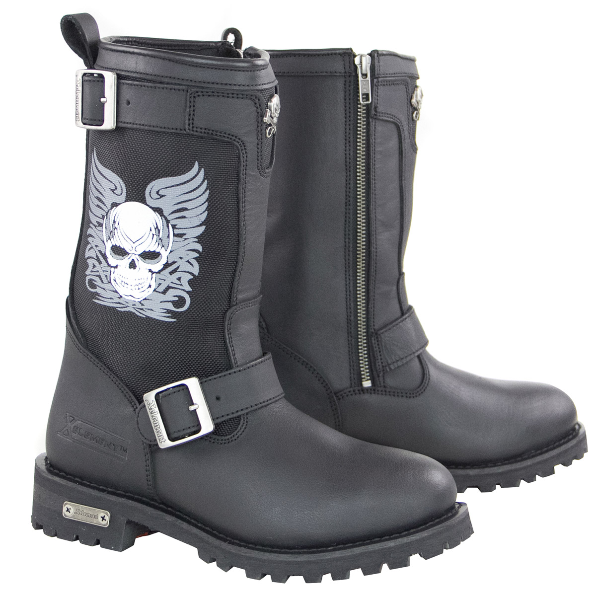 Xelement X29405 Womens Black Tribal Skull Boots with Poron Insoles
