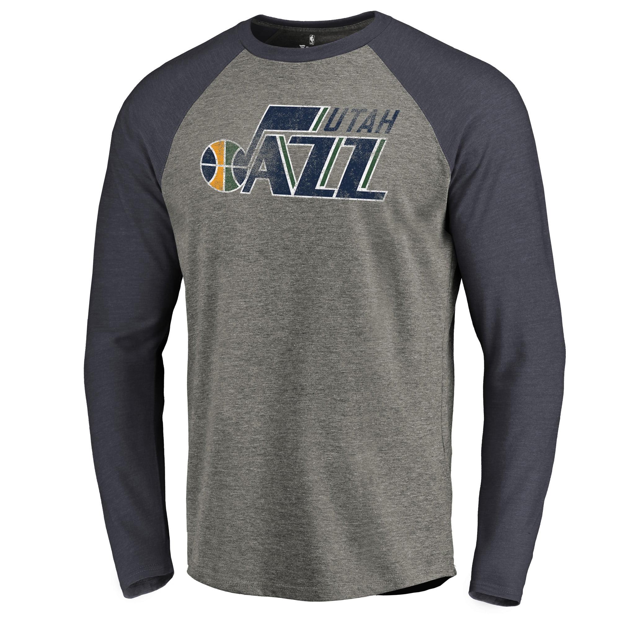 757a2030ad9d Utah Jazz Fanatics Branded Distressed Logo Tri-Blend Raglan Long Sleeve T- Shirt - Ash Navy
