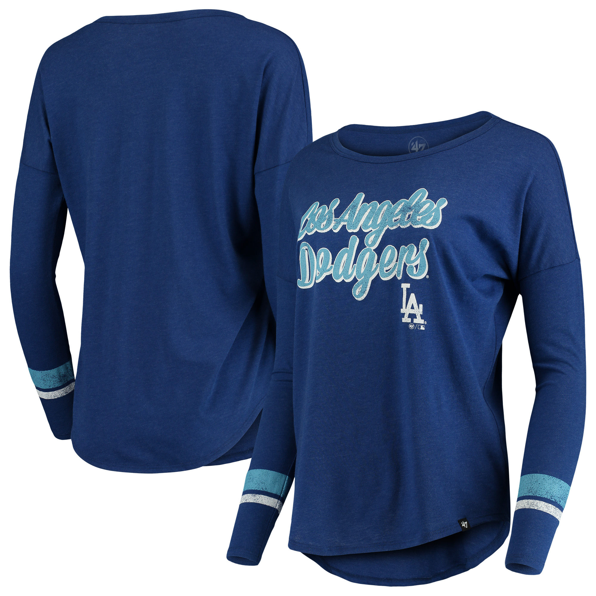 Los Angeles Dodgers '47 Women's Club Courtside Stripe Long Sleeve T-Shirt - Royal