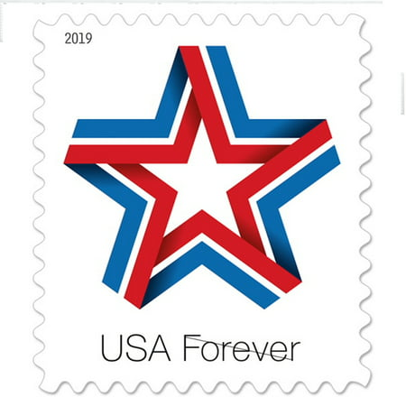 Star Ribbon Coil/roll of 100 USPS First Class Forever Postage Stamps Patriotic Flag Wedding Celebration (100 Stamps)