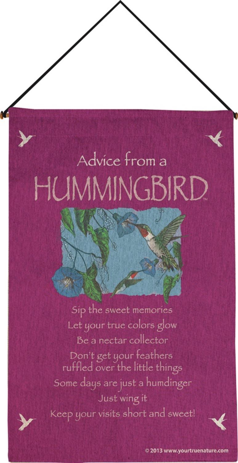 "Fuchsia ""Advice from A Hummingbird"" Wall Artwork Hanging Tapestry 17"" x 25"" by Manual Weavers"
