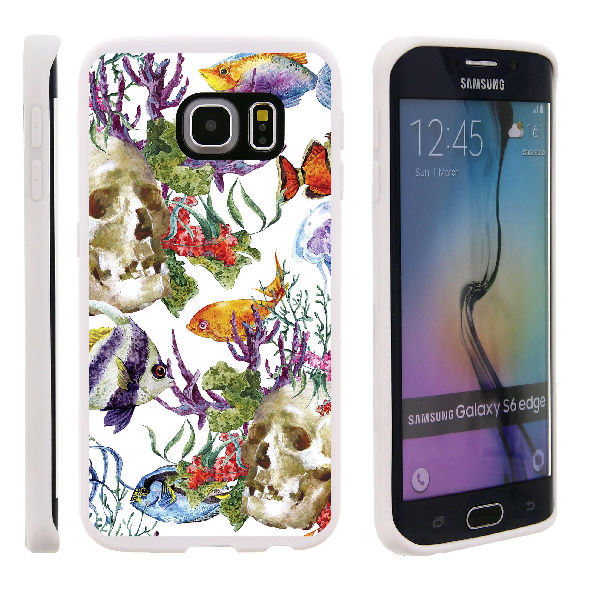Samsung Galaxy S6 Edge G925, Flexible Case [FLEX FORCE] Slim Durable TPU Sleek Bumper with Unique Designs - Fish and Skulls