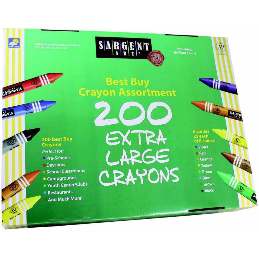 Sargent Art Jumbo Non-Toxic Crayon Set, Assorted Colors, Set of 200