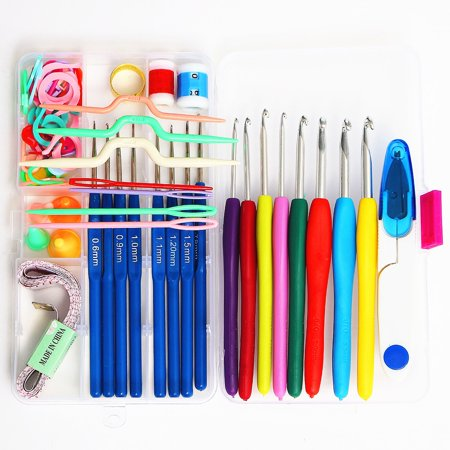 16 Sizes Colorful Stainless Steel Ergonomic Crochet Hooks Kit Handmade Needles Stitches Sewing Knitting Weave Craft Yarn Hand Tool Case Set Soft Grip Handles Sewing Accessories ()