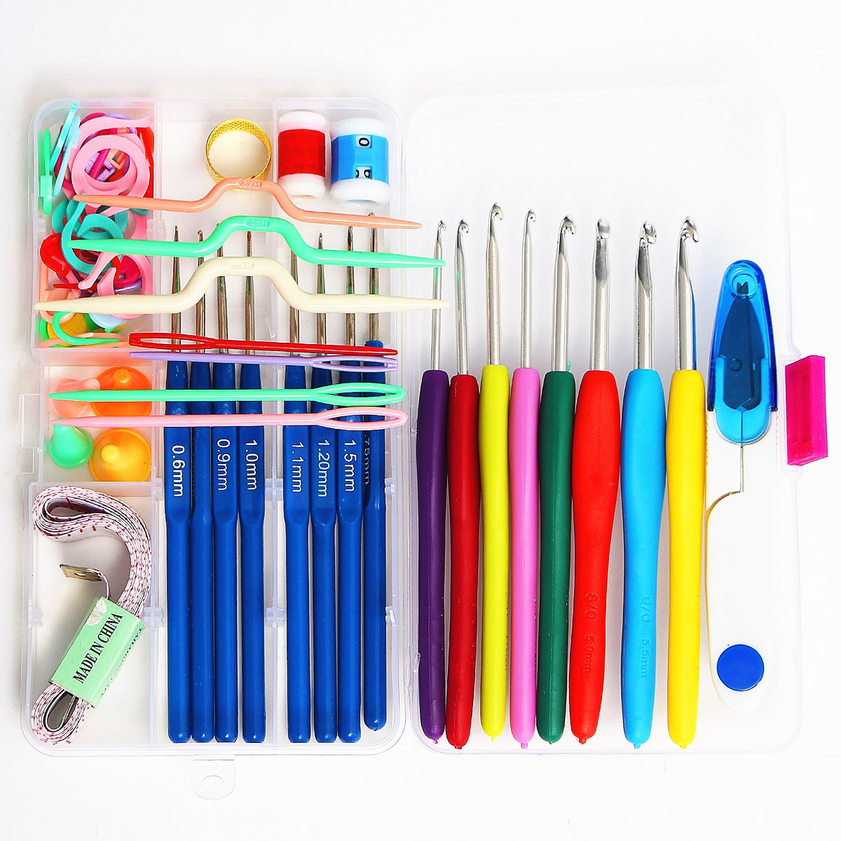 16 Sizes Colorful Stainless Steel Ergonomic Crochet Hooks Kit Handmade Needles Stitches Sewing Knitting Weave Craft Yarn Hand Tool Case Set Soft Grip Handles Sewing Accessories