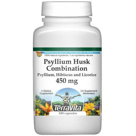 Psyllium Husk Combination - Psyllium, Hibiscus and Licorice - 450 mg (100 capsules, ZIN: 512569)