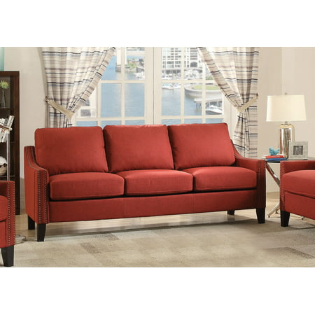 ACME Zapata Nail-head Sofa in Red Linen Upholstery