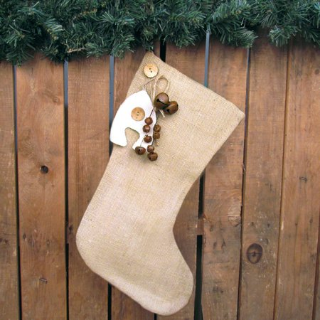 Burlap Christmas Stocking With Rusty Bells Ornament and Personalized Letter Charm by Jubilee Creative Studio Retro Christmas Stockings