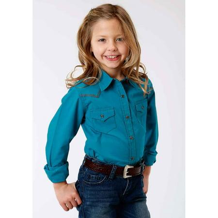 eab684fcf Roper - Roper Girl's Long Sleeve Western Style Shirt Solid Poplin - Jewel  Bl XL, 0060 - Walmart.com