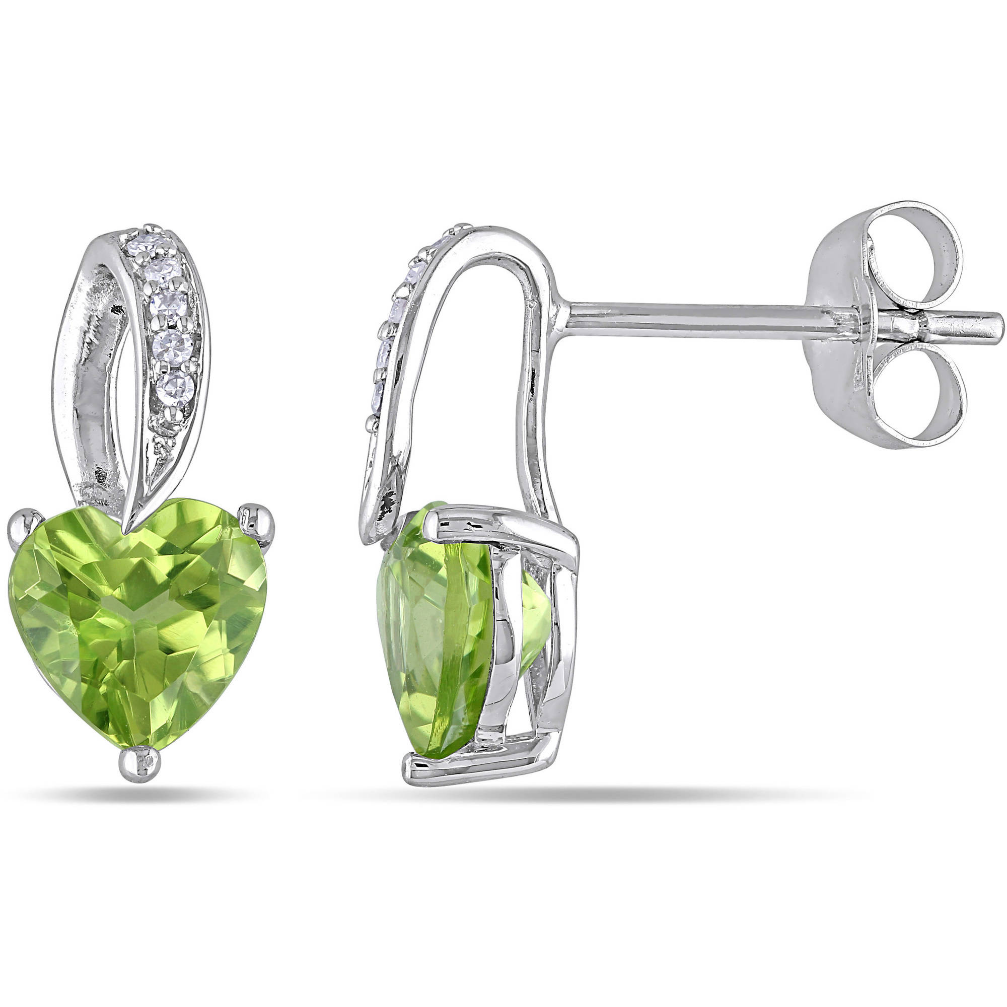 Tangelo 1-3/4 Carat T.G.W. Peridot and Diamond-Accent 10kt White Gold Heart Earrings