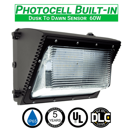 Led Wallpack (60w LED Wall Pack Light With Photocell 6657 Lumens IP65 UL and DLC Listed 5000k Replaces HPS/HID up to 320W 120-277V 5 Year Warranty - Dusk to Dawn Security Outdoor)