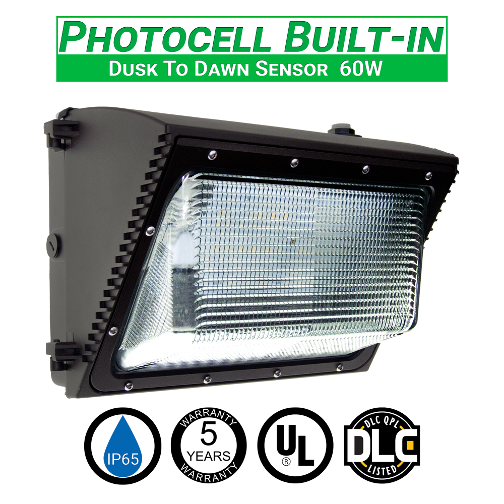 green led zone 60w led wall pack light with photocell 6657 lumens ip65 ul and dlc listed 5000k replaces green zone walmart marketplace sellers