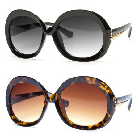 Large Oversized Round Sunglasses Thick Frame Black or Brown Lens Women Fashion u